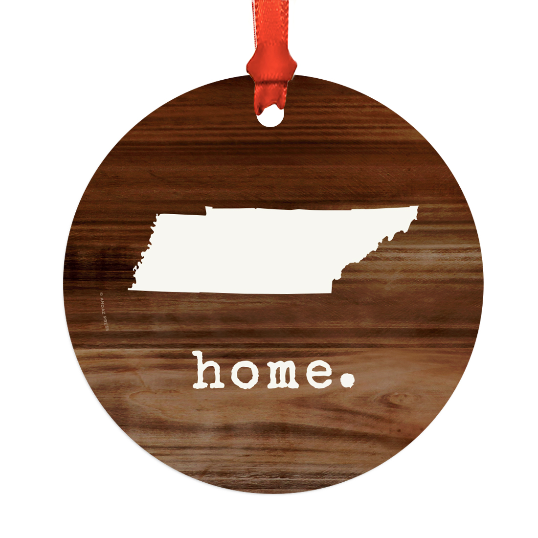 US State Round Metal Christmas Ornament, Rustic Wood Print ...