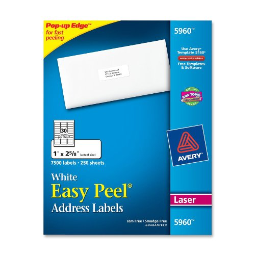 "Avery Easy Peel Address Label - 1"" Width X 2.62"" Length - 7500 / Box - Rectangle - 30/sheet - Laser - White (5960)"