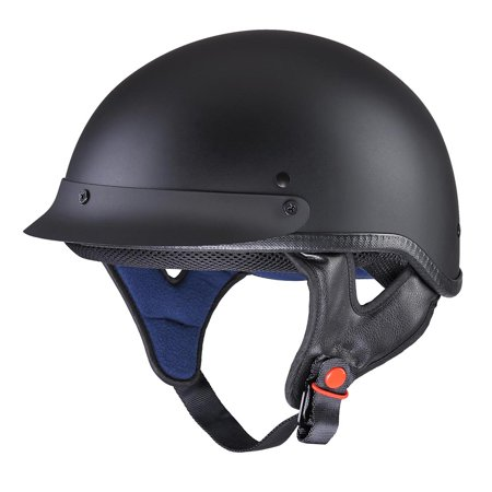 AHR Motorcycle Half Face Helmet DOT Approved Motorbike Cruiser Chopper Matt (Best Motorcycle Helmet With Built In Speakers)