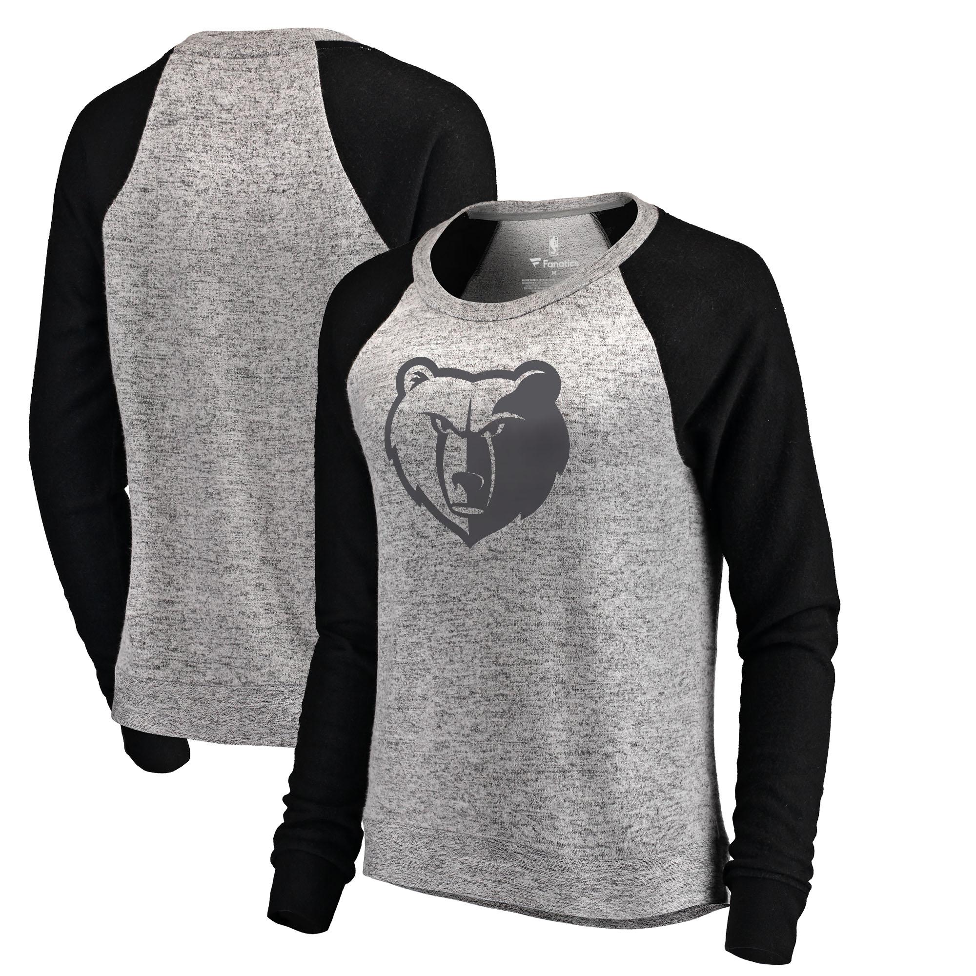 Memphis Grizzlies Let Loose by RNL Women's Cozy Collection Plush Raglan Crew Neck Sweatshirt - Ash/Black