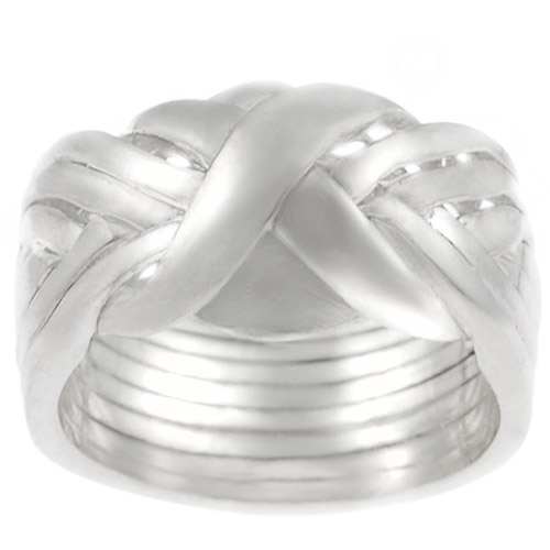 Brinley Co. Eight-Piece Puzzle Ring in Sterling Silver