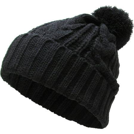 Black Slouchy Cable Knit Pom Pom Beanie Winter Cap Chunky Skull Hat Ski Kinit Warm New