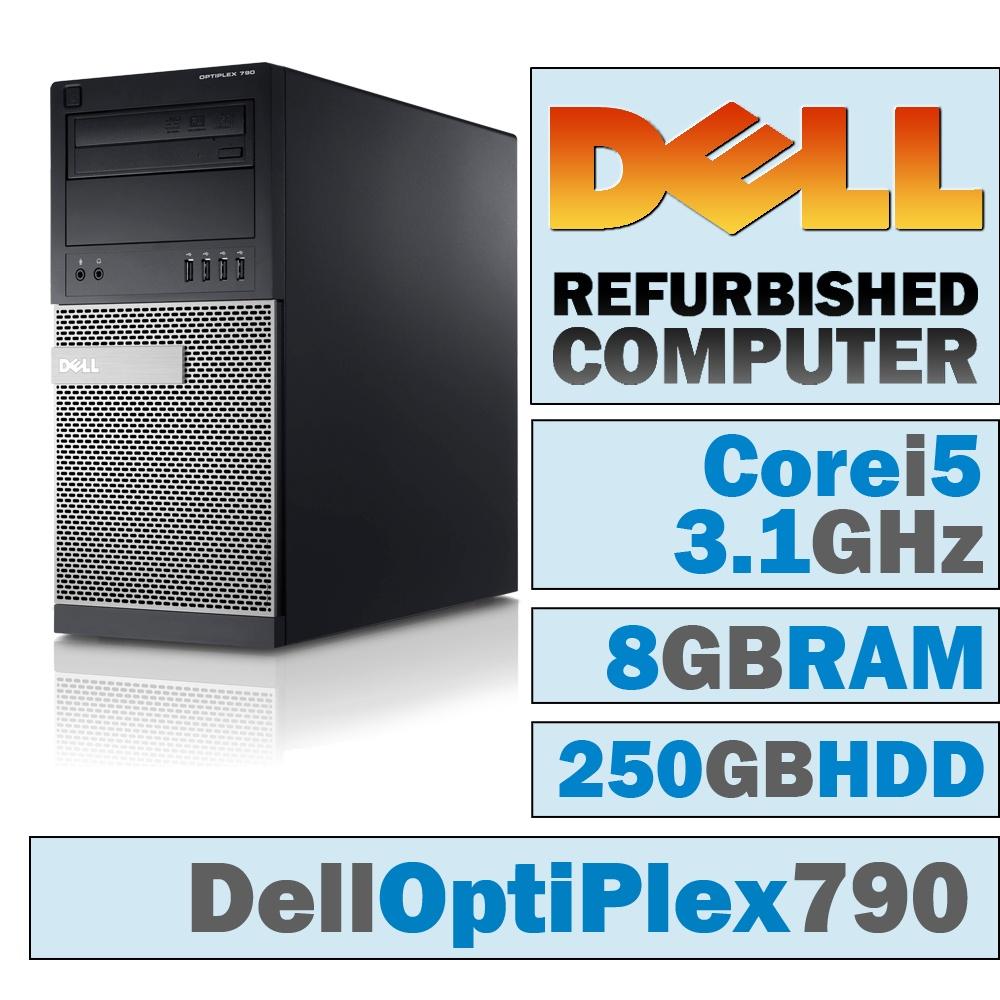 REFURBISHED Dell OptiPlex 790 MT/Core i5-2400 Quad @ 3.1 GHz/8GB DDR3/250GB HDD/DVD-RW/WINDOWS 7 PRO 64 BIT