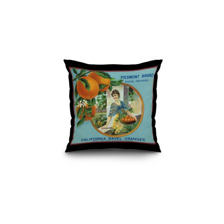 North Pomona  California   Piedmont Brand Citrus Label  16X16 Spun Polyester Pillow  Black Border