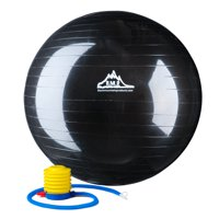 Black Mountain Products 2000lbs Static Strength Exercise Stability Ball with Pump, 45cm Black
