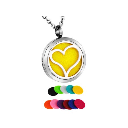 Love Heart Round Aromatherapy Perfume Essential Oil Diffuser Necklace Locket