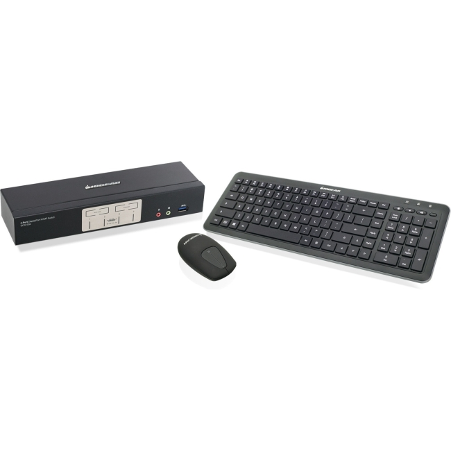 Iogear GCS1934-KM 4-Port DisplayPort1.2 KVMP with Wireless Keyboard and Mouse by IOGEAR