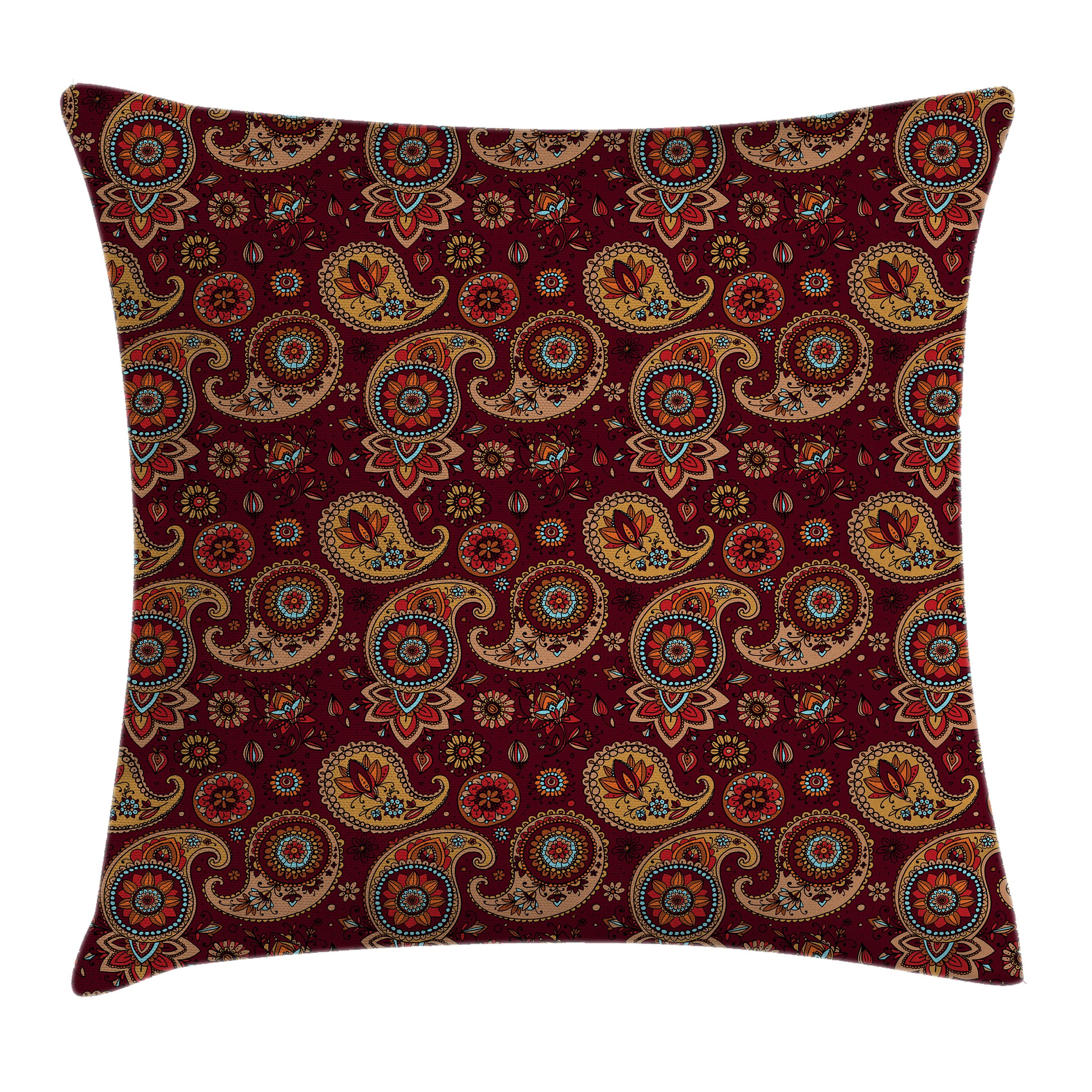 Paisley Throw Pillow Cushion Cover, Middle Eastern Culture Stylized Pattern Tribual Artwork Bohemian, Decorative Square Accent Pillow Case, 18 X 18 Inches, Chestnut Brown Mustard Teal, by Ambesonne