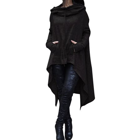 Women's Asymmetrical Hem Pullover Tunic Tops, Loose Solid Color Hoodies Sweatshirts Dresses for Women, Black, M