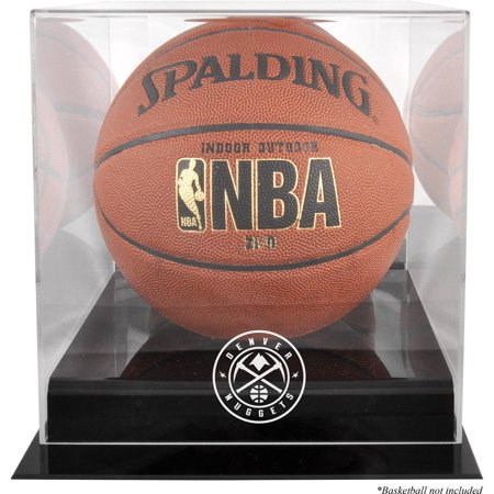 Denver Nuggets Black Base Team Logo Basketball Display Case with Mirrored Back