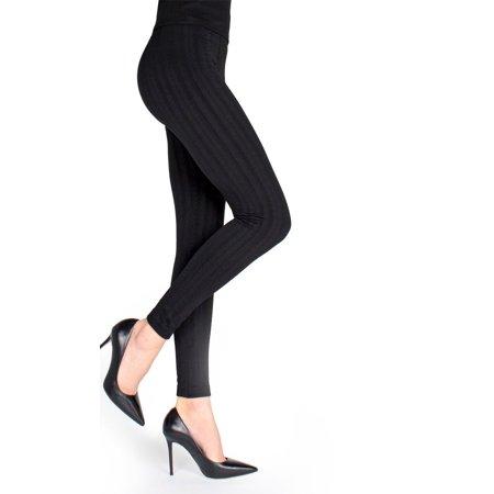 MeMoi Trigo Sweater Look Fleece-Lined Legging - Warm Winter Basics by MeMoi S/M / Black MLB 002
