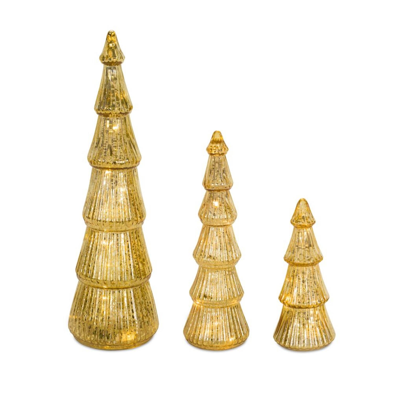 """Set of 3 Gold Colored Decorative Table Top Glass Christmas Tree 19"""""""