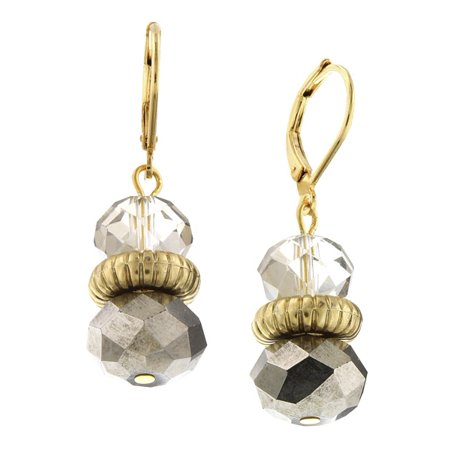 Gold Tone Grey and Hematite Beaded Drop Earrings