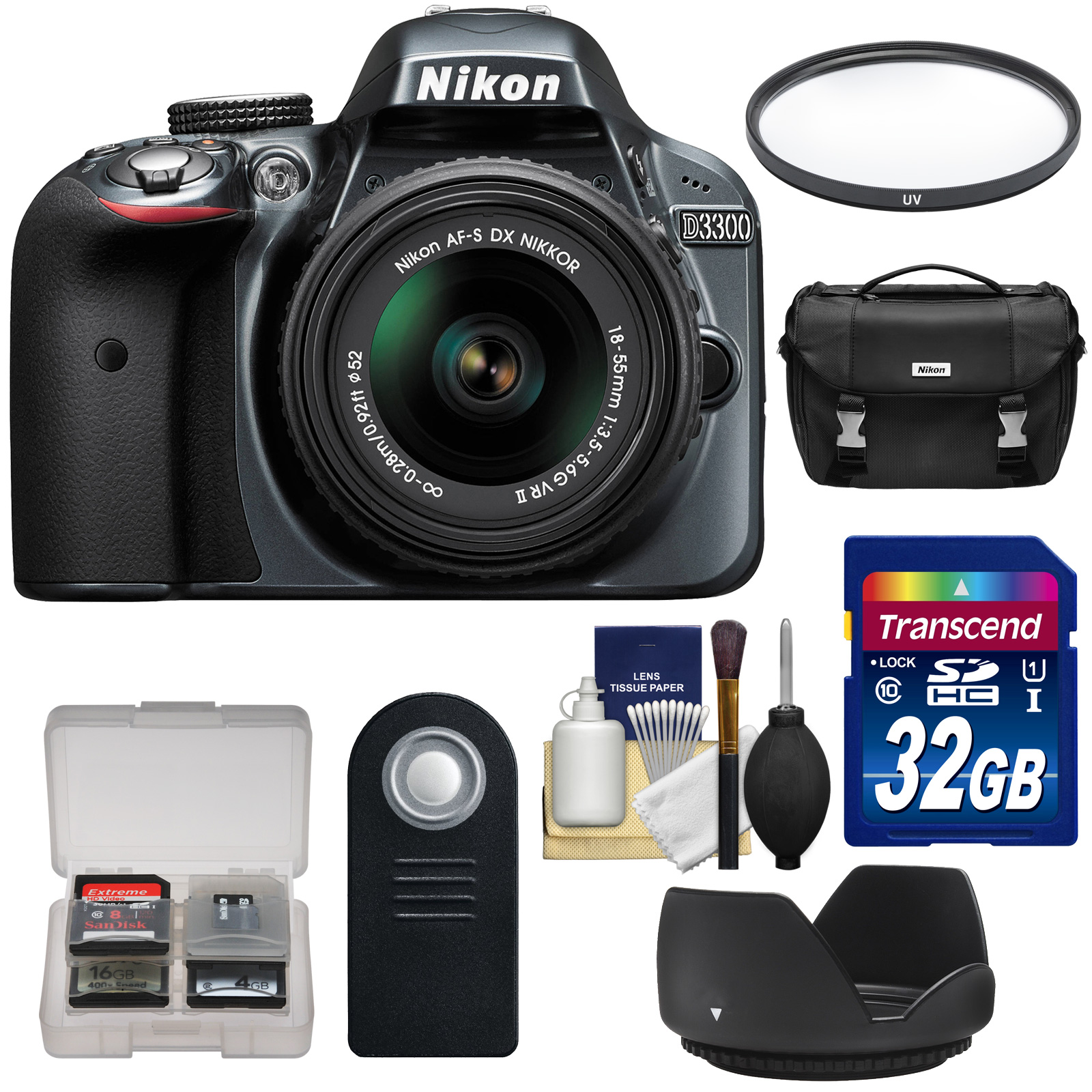 Nikon D3300 Digital SLR Camera & 18-55mm G VR DX II AF-S Zoom Lens (Grey) with 32GB Card + Case + Filter + Hood + Remote + Kit