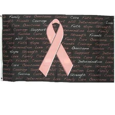 Flag Ribbon (Breast Cancer Awareness Flag Pink Ribbon Banner Inscriptions Pennant 3x5)