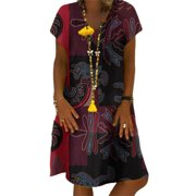 Womens Printed Short Dress Short Sleeve Floral Tunic Dress Sundress