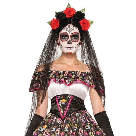 Morris Costumes Womens New Exotic Day Of Dead Veil Costume One Size, Style (Women's Diy Costume Ideas)