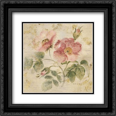 Burgundy Rose on Antique Linen Light Gold 2x Matted 20x20 Black Ornate Framed Art Print by Blum, Cheri Burgundy Gold Art Print