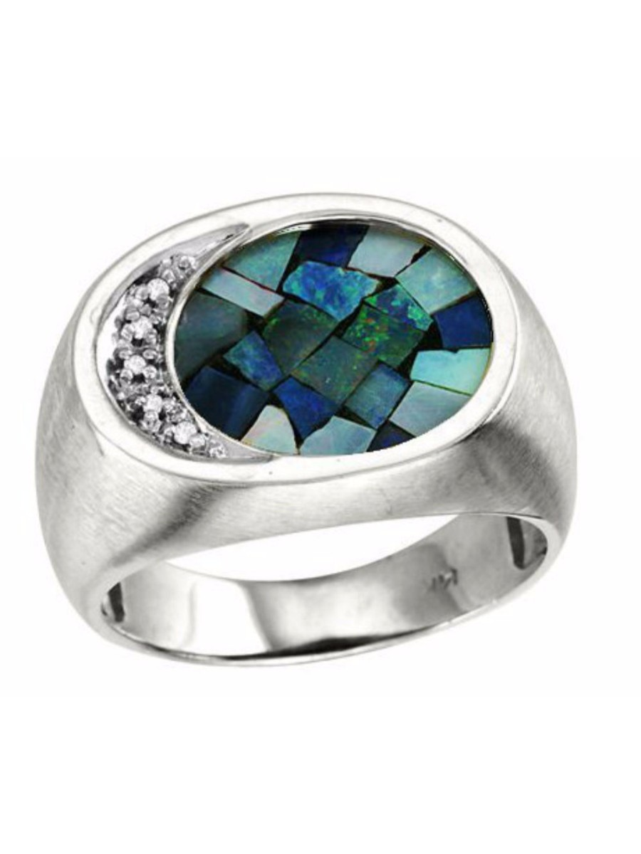 Mosaic Opal & Diamond Ring Set in Sterling Silver CCSL-MR2873MOPW by Rylos