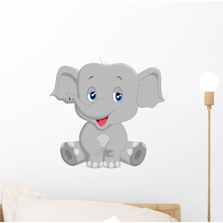 Elephant Stick (Cute Baby Elephant Cartoon Wall Decal by Wallmonkeys Peel and Stick Graphic (12 in W x 12 in H) WM139010 )