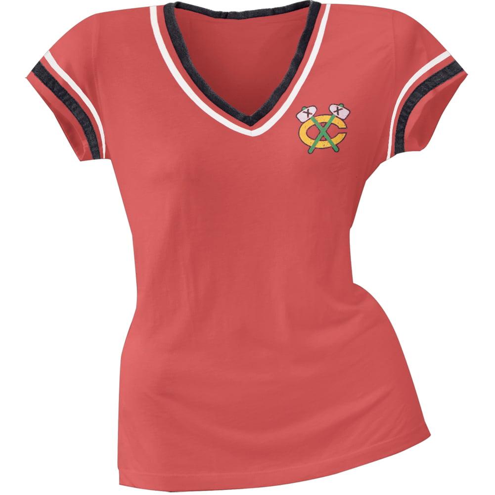 Chicago Blackhawks Chest Logo Juniors V-Neck Jersey T-Shirt by