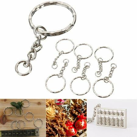 50Pcs Keyring Blanks 55mm Silver Tone Keychain Key Fob Split Rings 4 Link Chain - Blank Acrylic Keychains