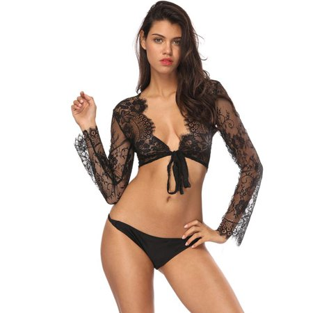 Open Front Lace - Fancyleo Women Sheer Lace Floral Open Front Short Tops Sexy Lingerie Temptation Underwear