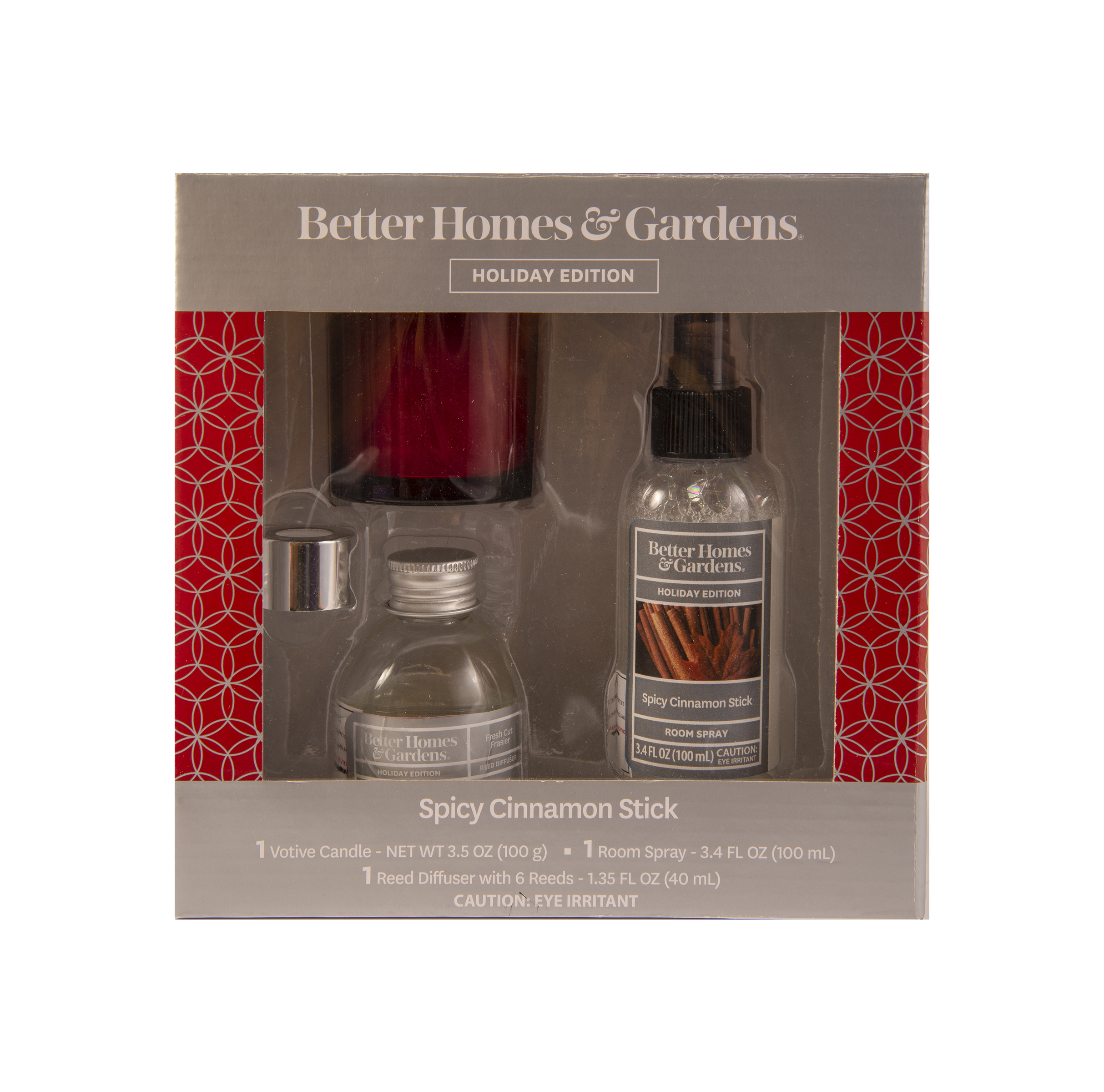 Better Homes & Gardens 3 Piece Spicy Cinnamon Stick Home Fragrance Gift Set