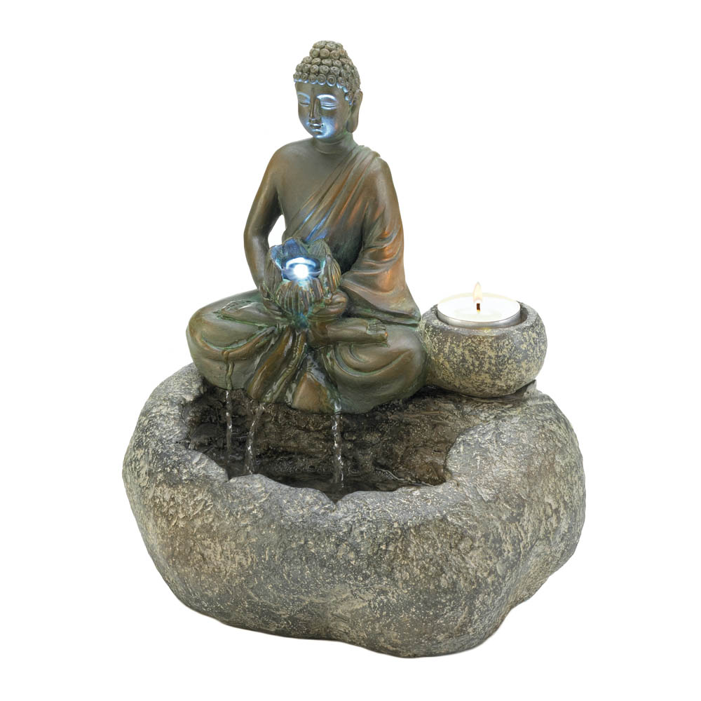 Indoor Water Fountain Buddha, Waterfall Zen Fountain, Made Of Polyresin