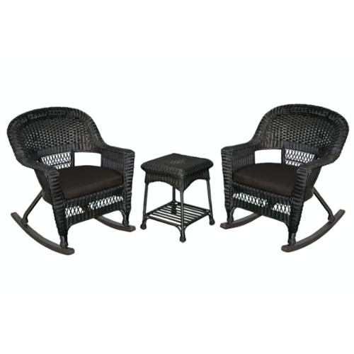 3-Piece Tiana Black Resin Wicker Patio Rocker Chair & Table Furniture Set - Black Cushions