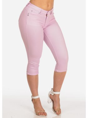 18c74e72d Product Image Womens Juniors Women's Junior Summer Stretchy Solid Color  Super Stretchy Trendy Low Rise Pink Booty Lifting
