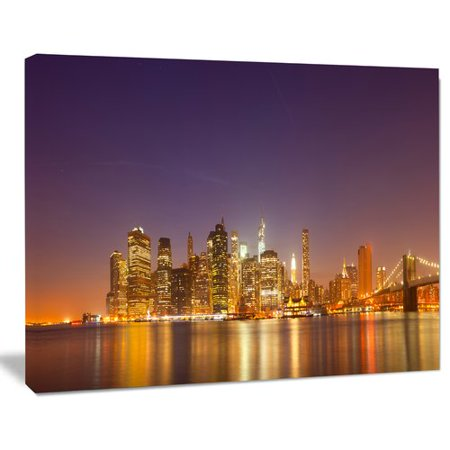 Design Art Illuminated NYC Downtown Buildings Cityscape Photographic Print on Wrapped Canvas