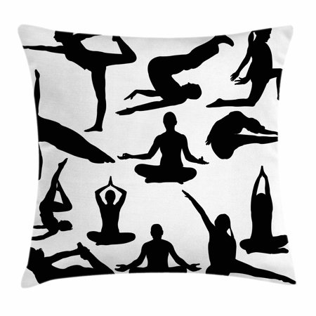 Hippie Women (Meditation Throw Pillow Cushion Cover, Yoga Postures Woman Body Relaxation Chakra Mystic Hobby Theme Hippie Print, Decorative Square Accent Pillow Case, 18 X 18 Inches, Black White, by)