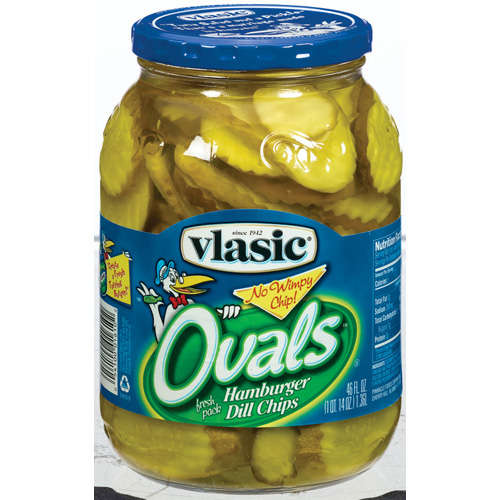 Vlasic Ovals Hamburger Dill Chips Pickles 46 Fl Oz Jar