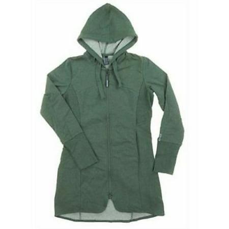 Mondetta Women's Andrea Full Zip Long Length Hooded Jacket - Green Heather (Medium) (Full Length Down Coats For Women)