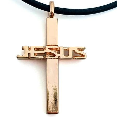 Cross Of Jesus Rose Gold Color Metal Finish Necklace (tsjrosg) On Soft Black Rubber Cord