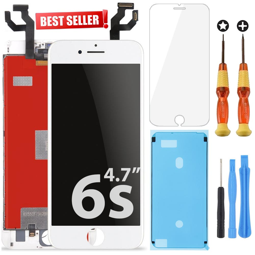 White iPhone 6s lcd Screen Replacement Repair Kit w/ Tools LCD Touch Screen Display Assembly and Replacement | Replace Cracked, Broken, Dead Pixels