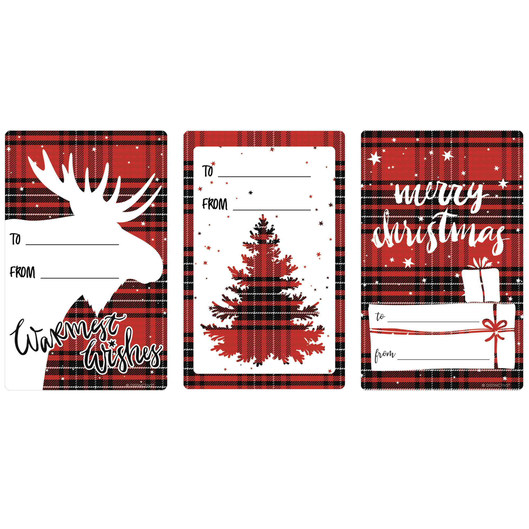 Plaid Christmas Gift Tag Stickers, 72ct - Christmas Gift Tags Wrapping Supplies - 72 Count To From Stickers