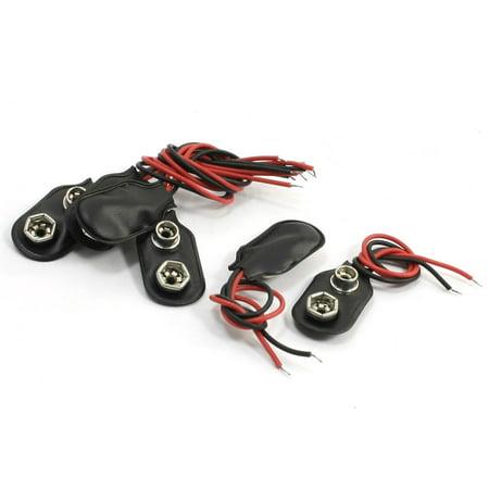 Unique Bargains 6Pcs Faux Leather Shell 11cm Wire Cable 9V Battery Clip Connector