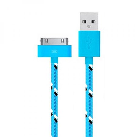 Go Beyond  Tm  3 Feet 30 Pin Fabric Braided Nylon Premium Durable Usb Charging Data Sync Cable For Apple Ipod  Iphone  And Ipad  Shipped In Same Business Day    3Ft Blue Nylon Cable