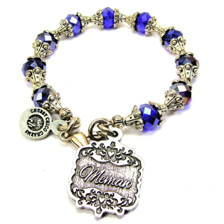 Chubby Chico Charms Memaw Victorian Scroll Capped Crystal Bracelet in Sapphire Blue