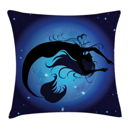(Mermaid Throw Pillow Cushion Cover, Silhouette of Legendary Aquatic Girl on Moon Sky Background Fictional Print, Decorative Square Accent Pillow Case, 16 X 16 Inches, Purple Black, by Ambesonne)