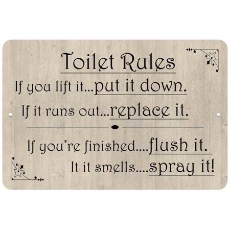 Toilet Rules, if you lift it… Funny Bathroom Gift 8x12 Metal Sign 108120061044 - Funny Rules For Halloween