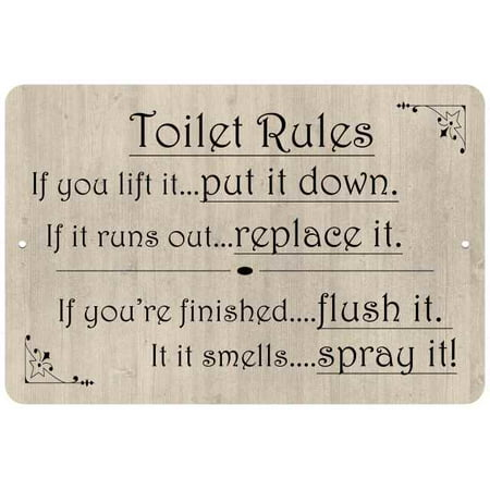 Toilet Rules, if you lift it… Funny Bathroom Gift 8x12 Metal Sign  108120061044