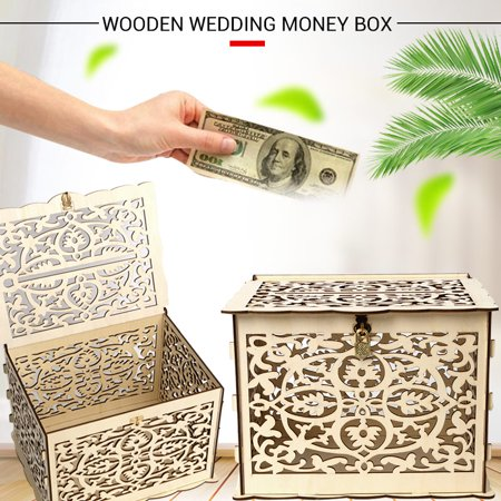 Rustic Wedding Wood Engraved Pattern DIY Money Wooden Gift Boxes Card Box Card Holder Container Wedding Money Card Holder