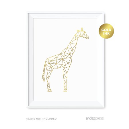 Golden Giraffe (Giraffe Geometric Animal Origami Wall Art Metallic Gold Ink)