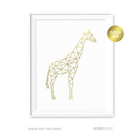 Giraffe Geometric Animal Origami Wall Art Metallic Gold Ink Print