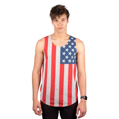 Brooklyn Surf Men's American Flag Jersey Tank Top Sleeveless Stars N Stripes Shirt, Gray, Small