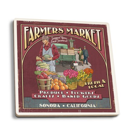 Sonora, California - Farmers Market - Lantern Press Poster (Set of 4 Ceramic Coasters - Cork-backed, Absorbent)