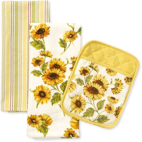 Better Homes and Gardens Sunflower Kitchen Towel and Pot Holder, Set of 3
